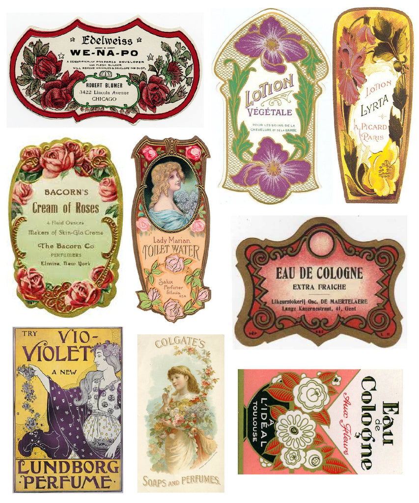Vintage Victorian Perfume Labels #1  Collage Sheet for Instant download