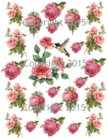 Pink Roses and Hummingbird Collage Sheet Printed Collage Sheet,  Weddings, Decoupage, Scrapbook, Altered Art, Victorian Scrap