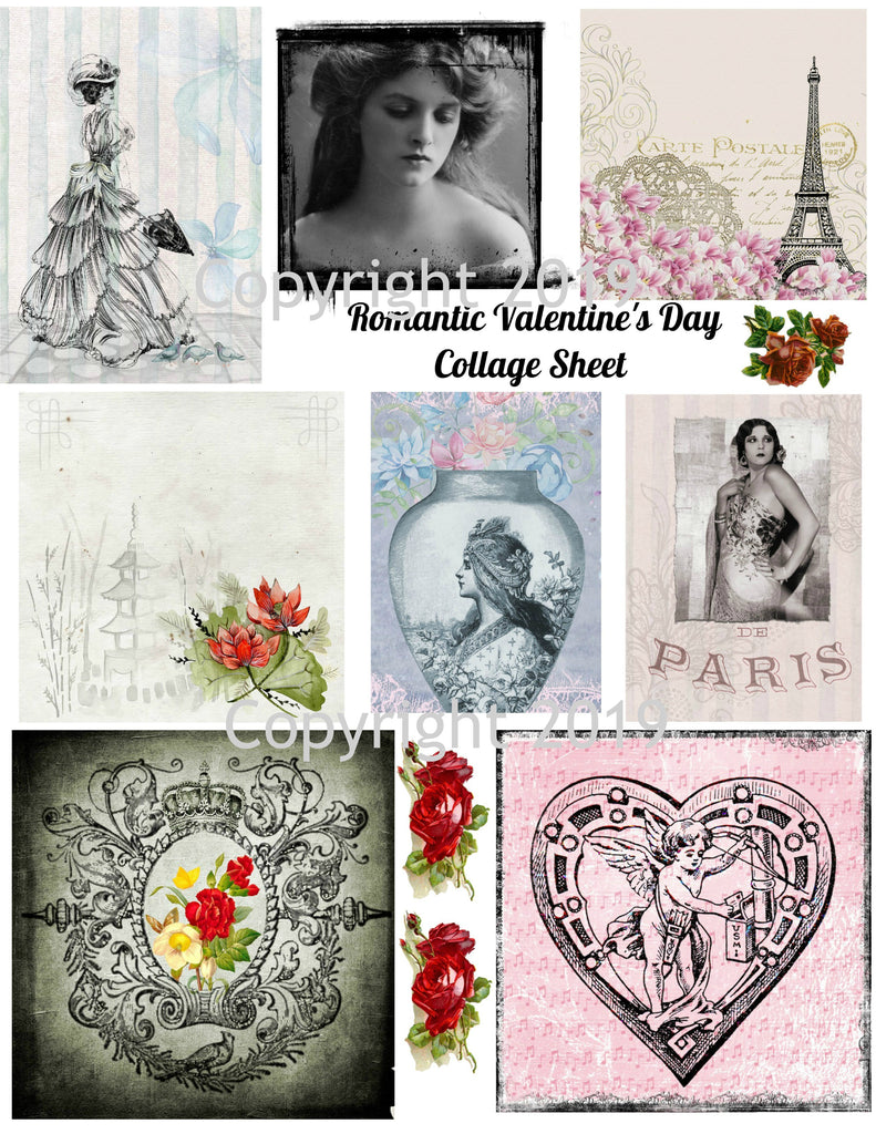 Romantic Valentine Images Digital Collage Sheet #102 for Altered Art, Scrapbook, Cards, Tags Instant Digital Download JPG and PDF