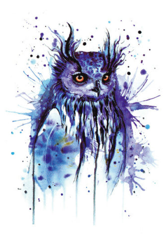 Blue Owl Temporary Tattoo Body Art 4 x 5""