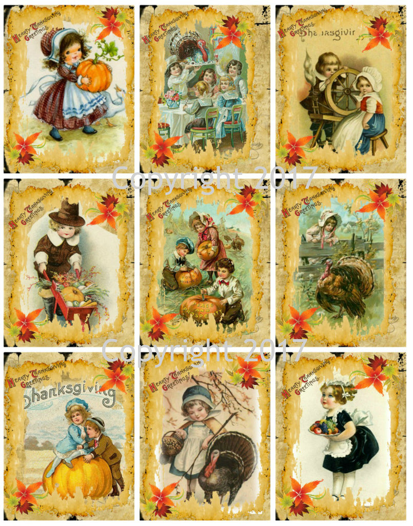 Printed Vintage Victorian Thanksgiving Cards Collage Sheet  8.5 x 11""