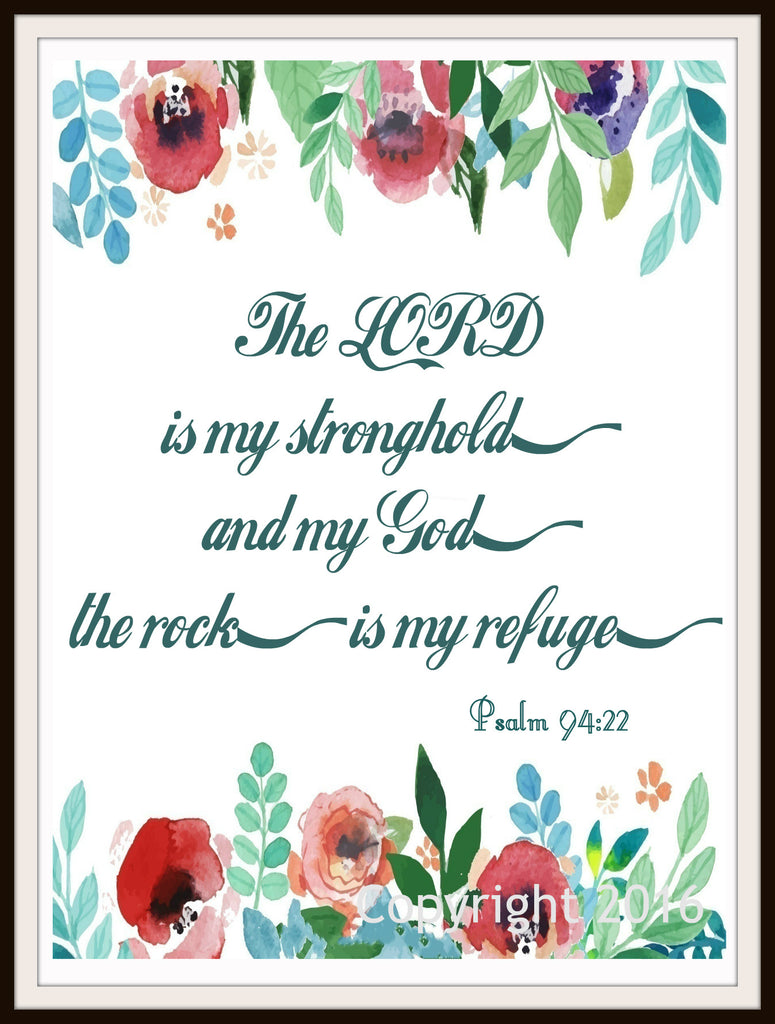 "Scripture Art Print  ""The Lord Is My Stronghold"", Wall Decor, 8 x 10"" Unframed Motivational Quote"