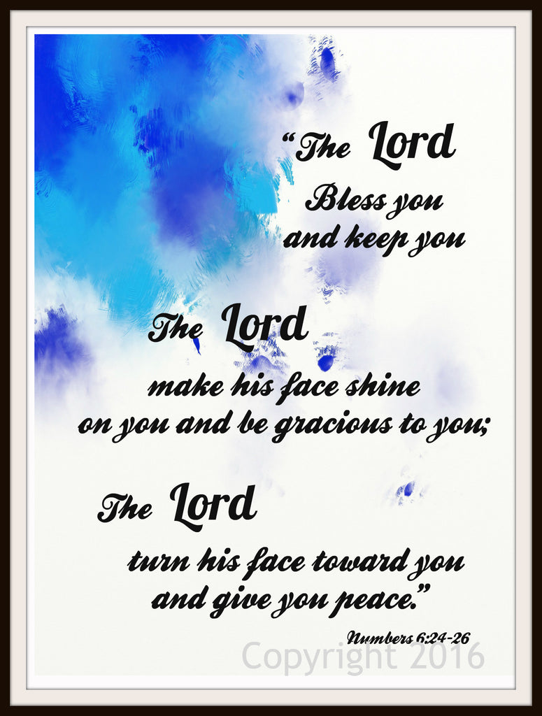 "Scripture Art Print  ""The Lord Bless You"", Wall Decor, 8 x 10"" Unframed Motivational Quote"