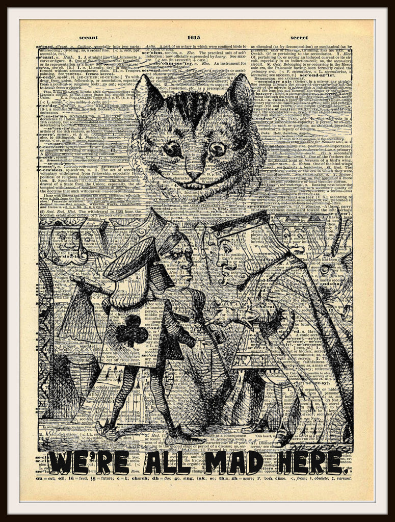 Alice in Wonderland Cheshire Cat Vintage Art Print on Ephemera Dictionary Book Page Background, 8 x 10""