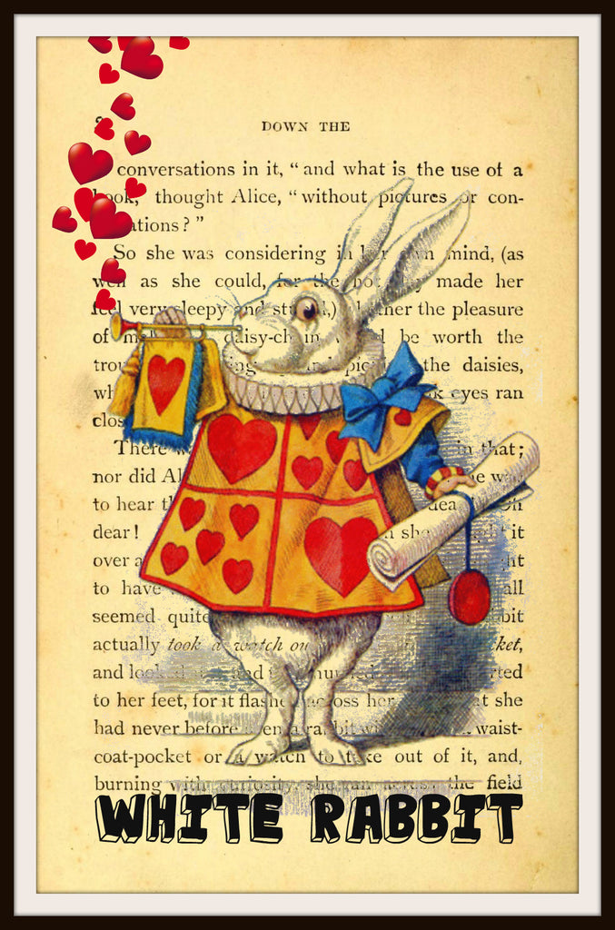 Alice in Wonderland White Rabbit Vintage Art Print on Ephemera Dictionary Book Page Background, 8 x 10""