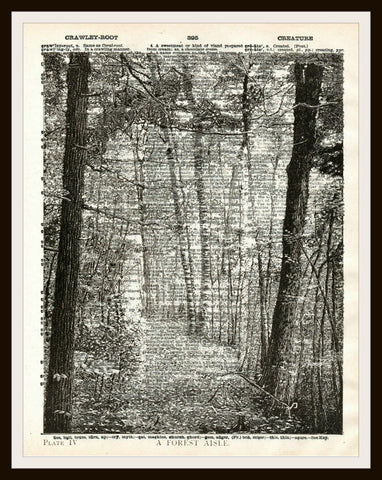 A Forest Aisle Art Print Reproduction Ephemera Dictionary Background Art Poster