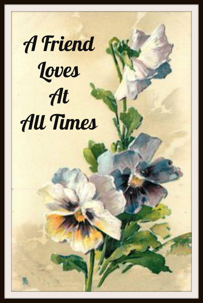 "Vintage Scripture Art Print ""A Friend Loves At All Times"", Wall Decor, 8 x 10"" Unframed Printed Art Image, Scripture Print, Motivational Quote"