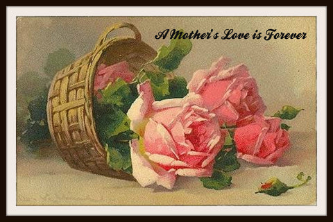 "Vintage Mother's Day Art Print  ""A Mother's Love"" 8.5 x 11"""