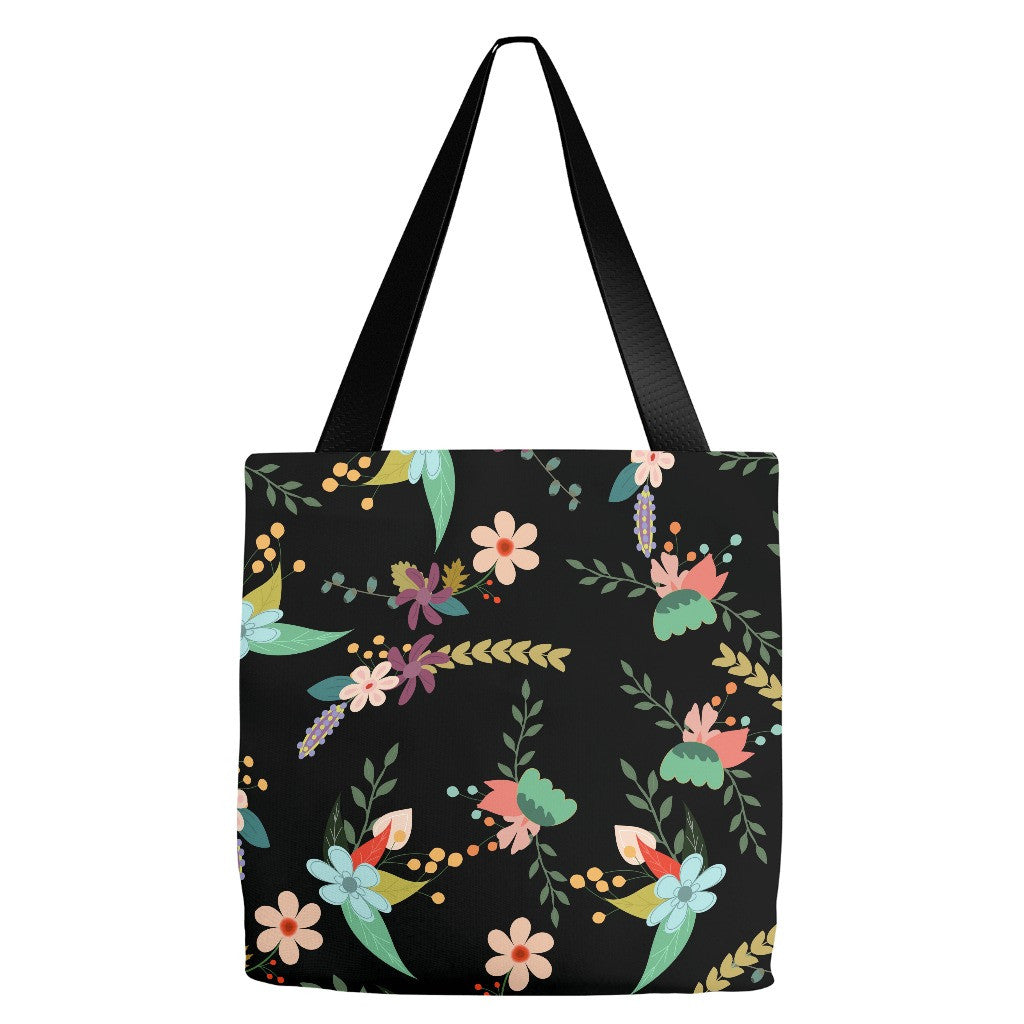 Black Flowers Tote Bag 18 x 18""
