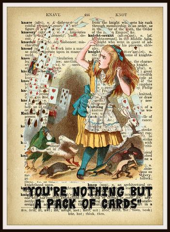 Alice in Wonderland Playing Cards Vintage Art Print on Ephemera Dictionary Book Page Background, 8 x 10""