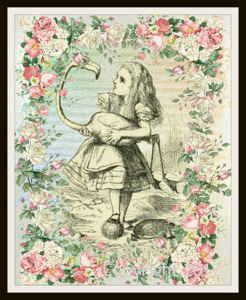 Set Of 5 Printed Vintage Nursery Art Image Alice In