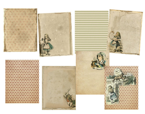 Alice in Wonderland #1: 8 Journal or Scrapbook Pages