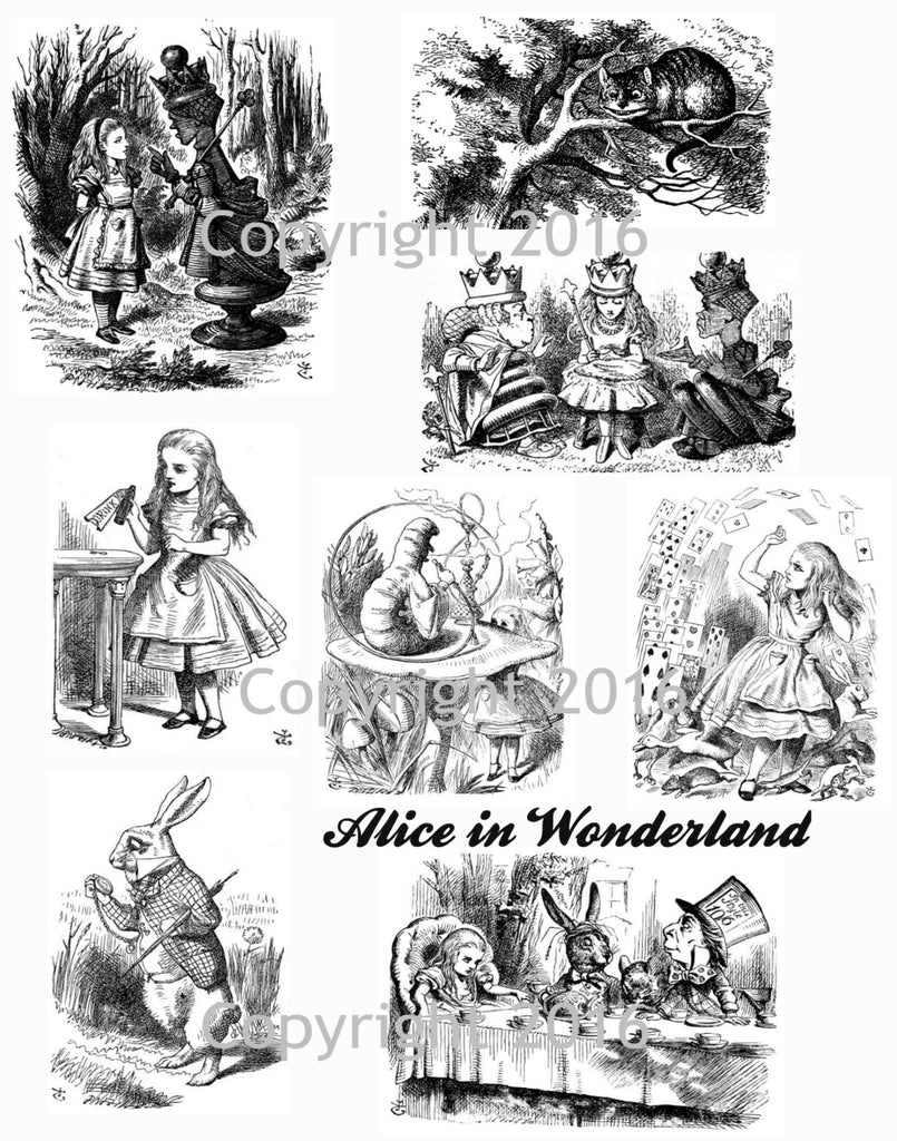 Alice in Wonderland # 4 by John Tenniel   Collage Sheet