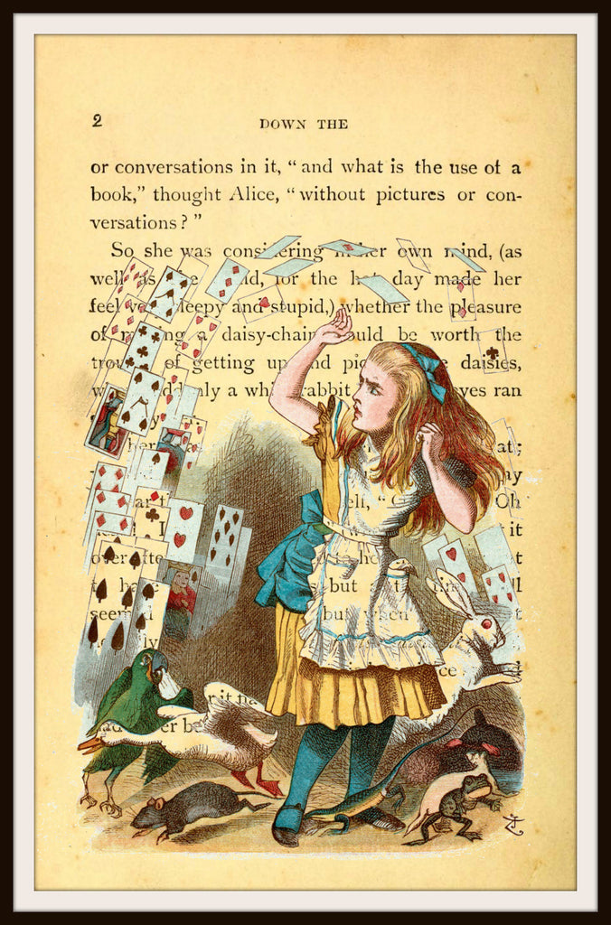 Alice in Wonderland Vintage Art Print with Original Book Page Background, 8 x 10""