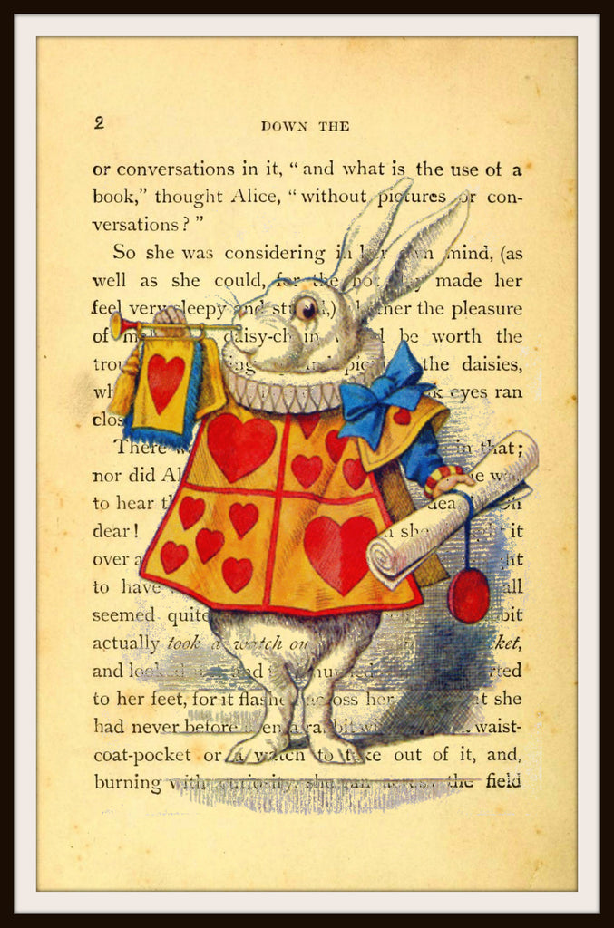 Alice in Wonderland White Rabbit Vintage Art Print #3 with Original Book Page Background, 8 x 10""