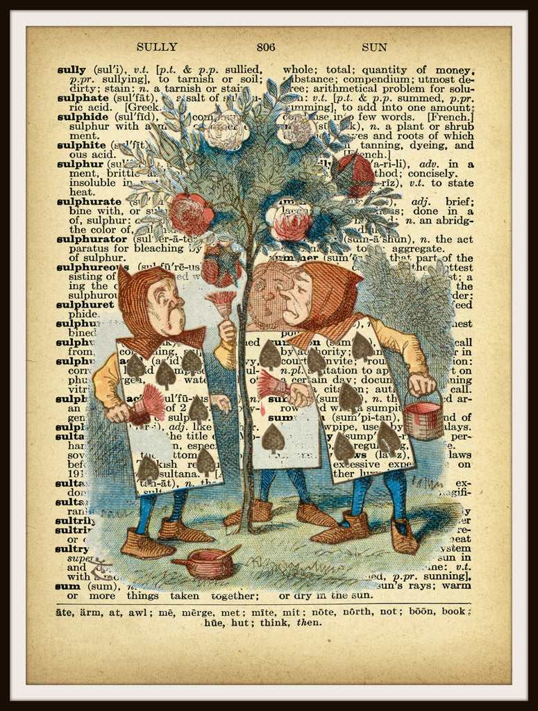 Alice In Wonderland Playing Cards Vintage Art Print On