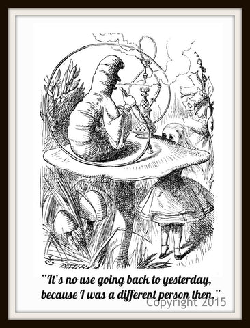 Alice in Wonderland Art Print Wall Decor, 8 x 10  Unframed  John Tenniel Illustration