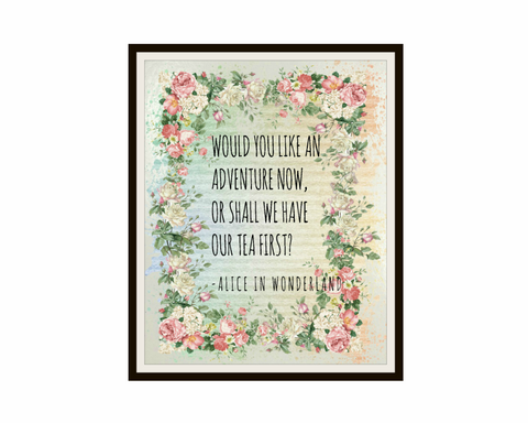 Alice in Wonderland  Pastel  Art Print Book Quote, 8 x 10""