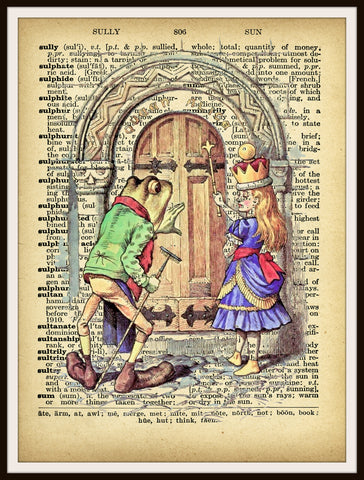 Alice Through the Looking Glass Vintage Art Print on Ephemera Dictionary Book Page Background, 8 x 10""