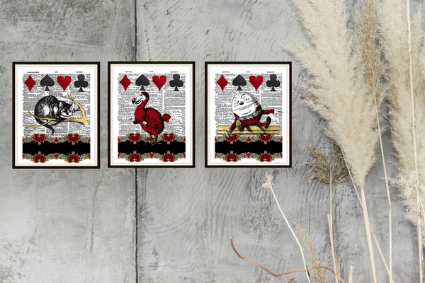 Set of 6 Vintage Nursery Art Image Alice Through the Looking Glass  Instant Download Wall Decor Unframed 8 x 10""