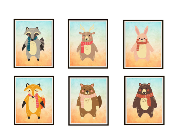 Set of 6 Adorable Animal Nursery Prints, Poster Art Baby Shower, Wall Decor Unframed 8 x 10""