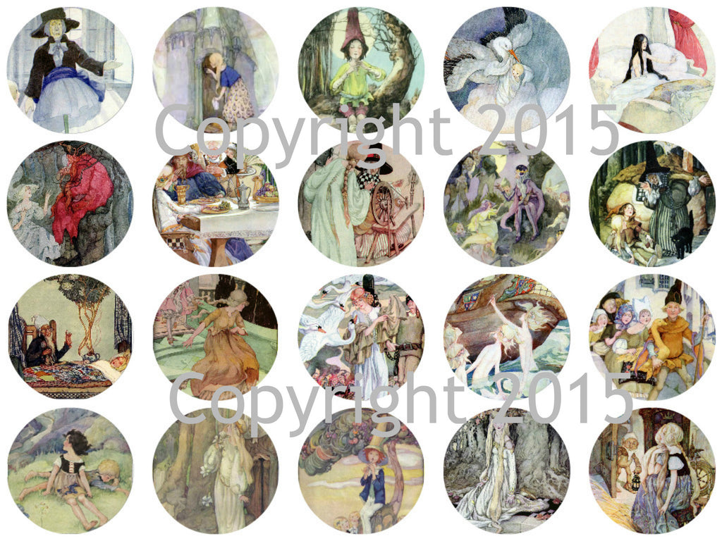 "Printed Vintage Victorian  Anne Anderson Fairy Tale Images 1 3/4"" Circles Collage Sheet"