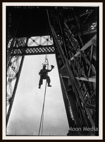 "Photograph Wall Decor ""Eiffel Tower Worker 1800's ""   8 x 10 Photo Print  Unframed"