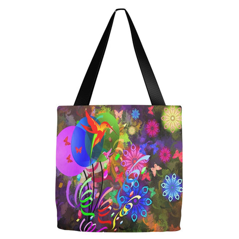 Abstract Flowers Tote Bag 18 x 18""