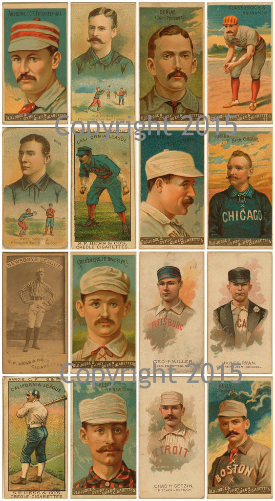 Vintage Baseball Cards #1 Collage Sheet