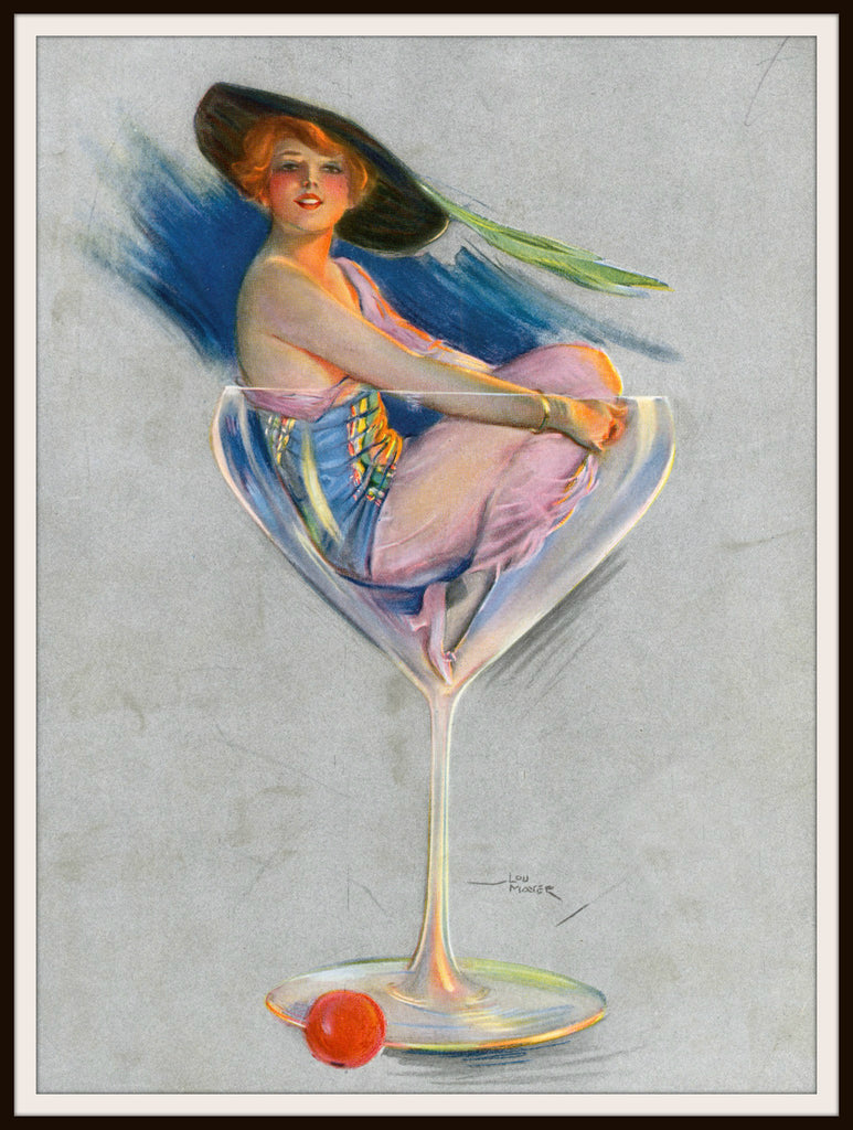Vintage Poster Art Print Woman In Champagne Glass   8.5 x 11""