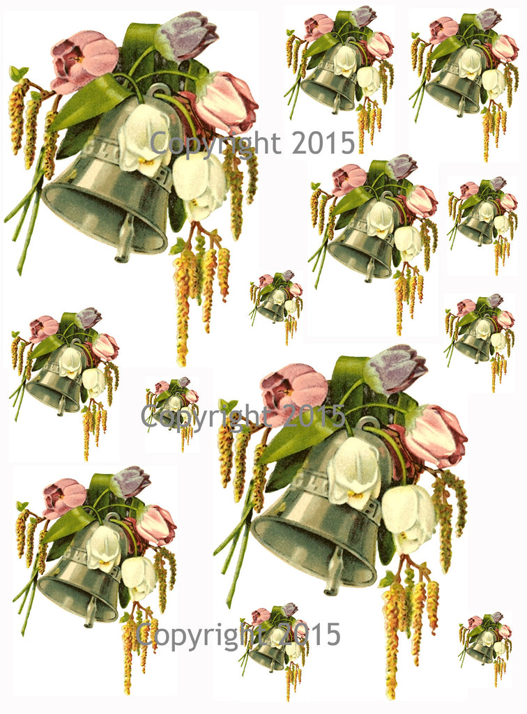 Bells and Tulips Collage Sheet for Decoupage, Altered Art, Scrapbooking, Wedding Art