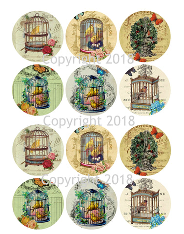 Vintage Ephemera Collage Bird Cages Collage Sheet Circles Instant download