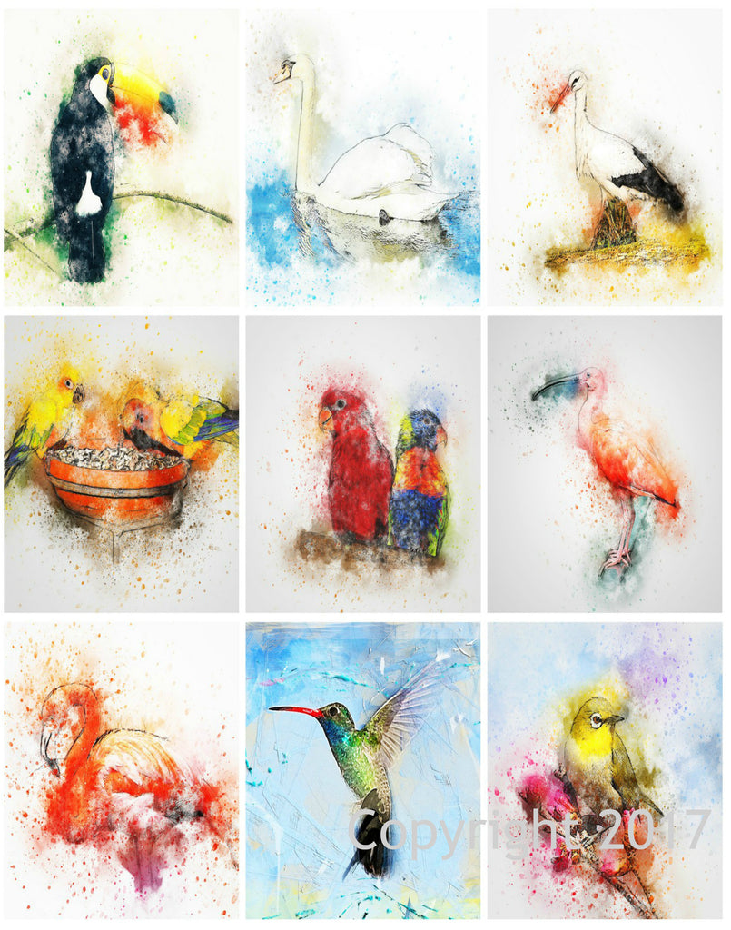 Watercolor Birds Collage Printed Sheet