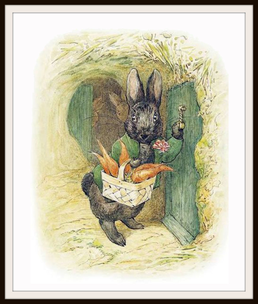 Bunny Comes to Visit by Beatrix Potter Art Print 8 x 10""