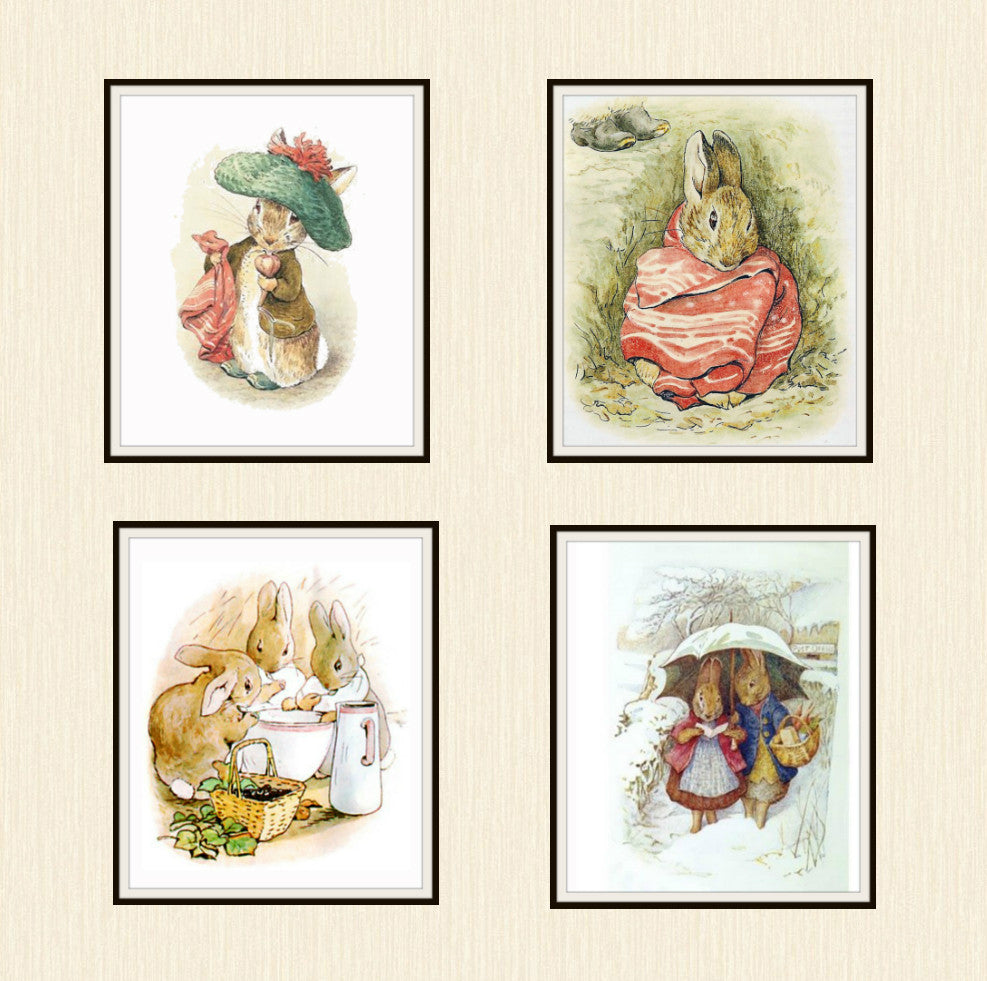 "Beatrix Potter Peter Rabbit and Friends Set of 4  Art Prints 8 x 10"" Unframed"