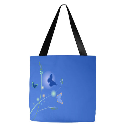 Blue Butterfly Tote Bag 18 x 18""