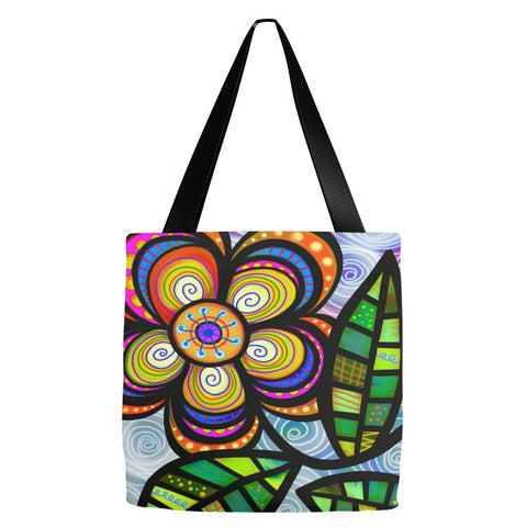Abstract Flower Tote Bag 18 x 18""