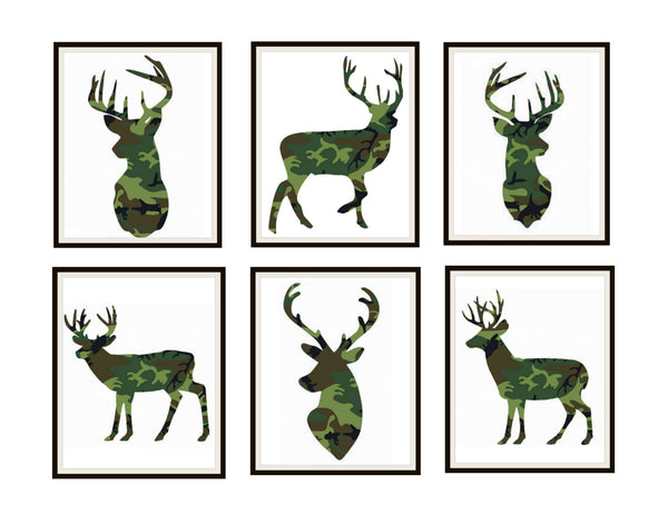 "Set of 6 Camouflage Print Silhouette Deer Poster Art Prints 8 x 10"" Wall Decor Deer Prints"