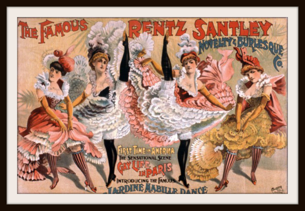 Vintage Poster Art Print Dancing Can Can Girls 8.5 x 11""