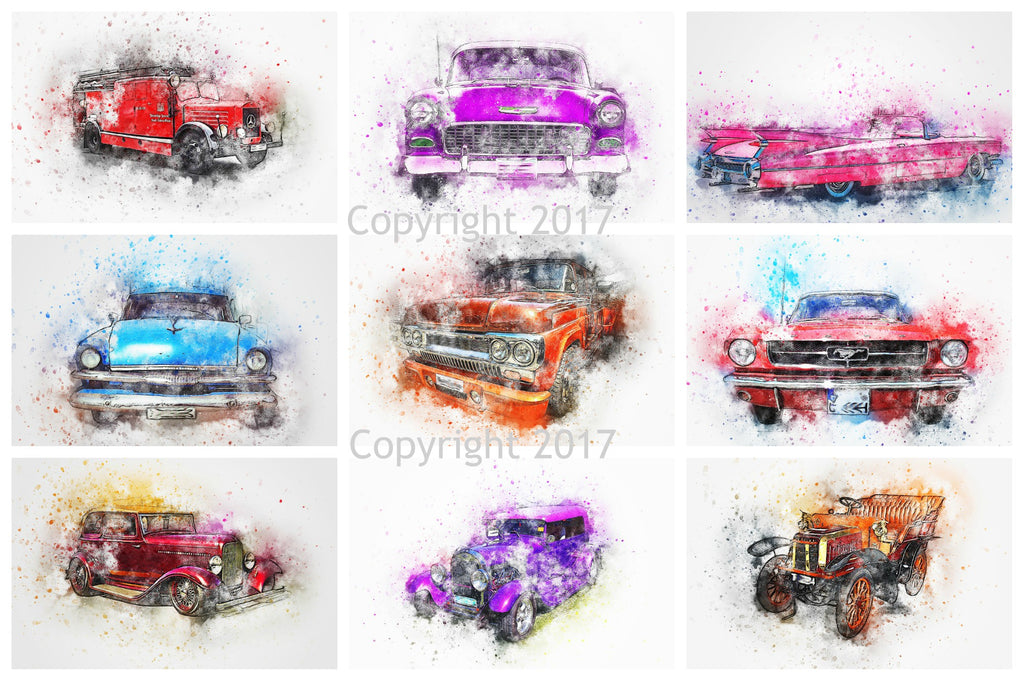 Watercolor Cars Collage Printed Sheet