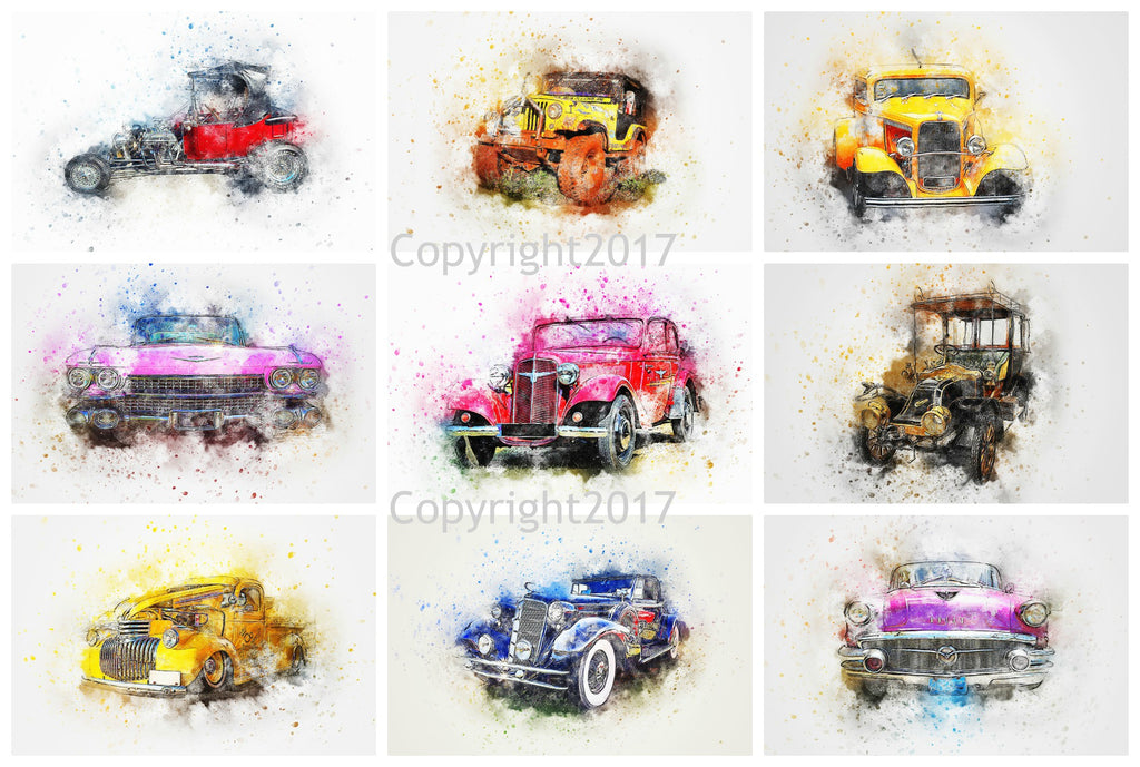 Watercolor Cars #102 Collage Printed Sheet