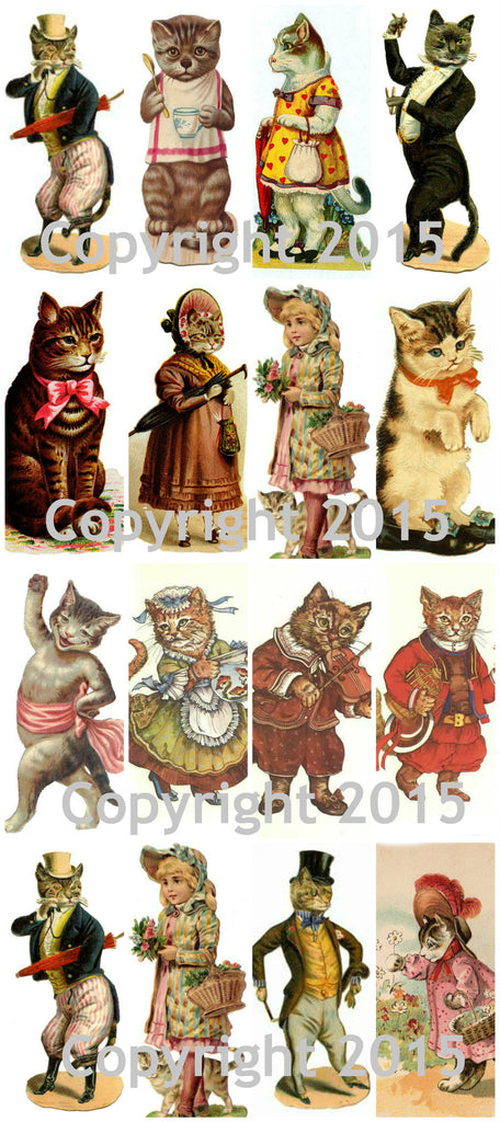 Vintage Victorian Cats Collage Sheet #102