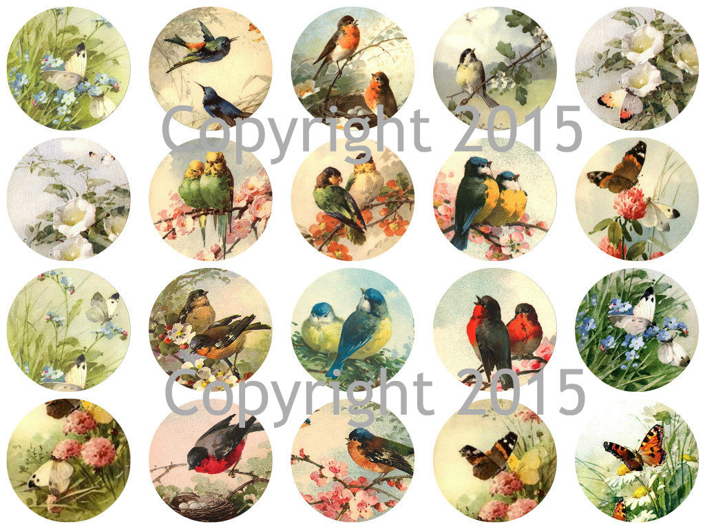 "Printed Vintage Victorian Catherine Klein Birds and Butterflies 1 3/4"" Circles Collage Sheet"