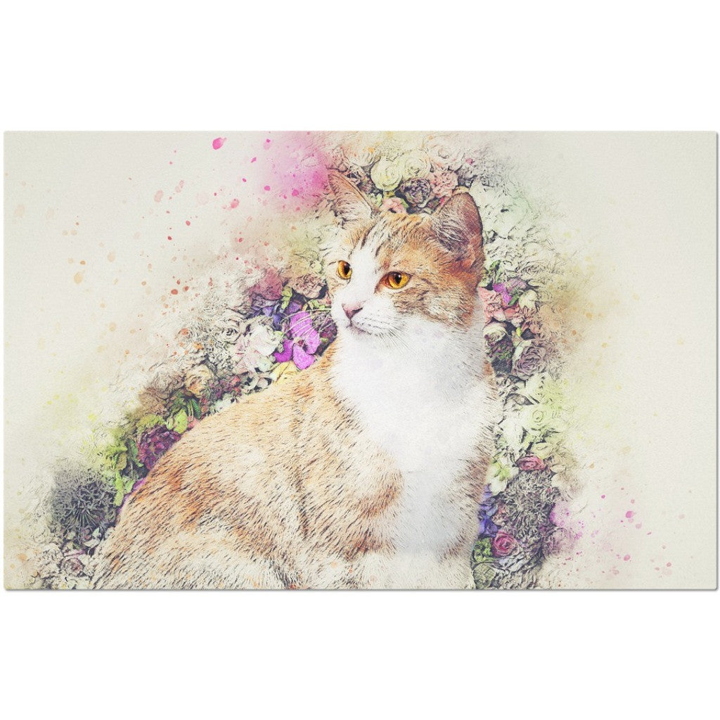 Laminated Cat and Flowers Placemat 11 x 17""