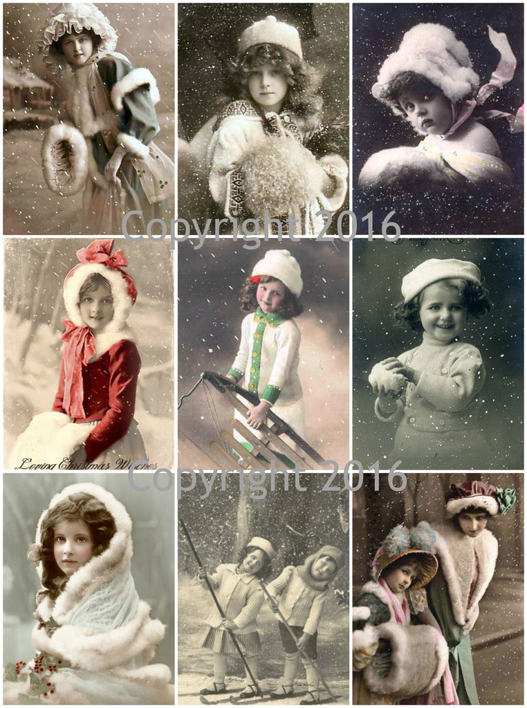Vintage Children in Winter Photo Images   Printed Collage Sheet 8.5 x 11""