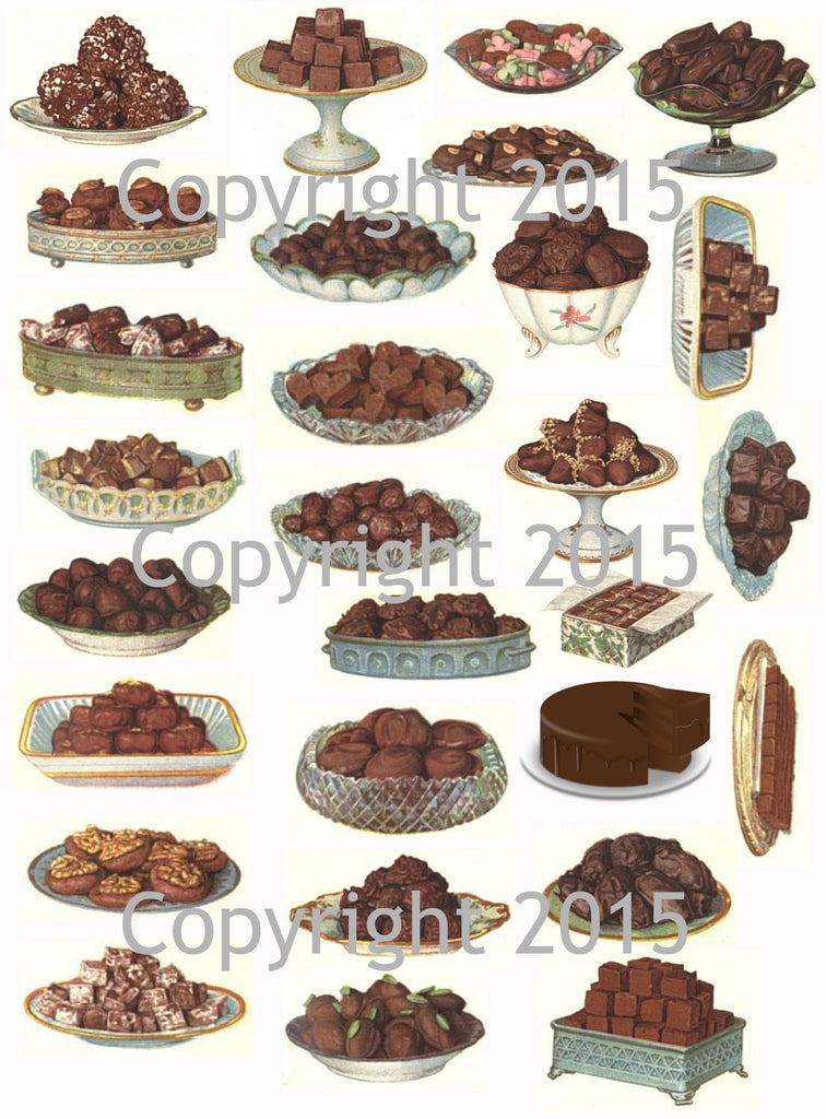 Vintage Chocolate Deserts Collage Sheet