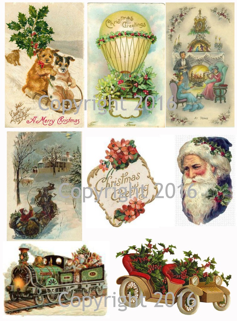 Vintage Christmas Card Collage Sheet  #101