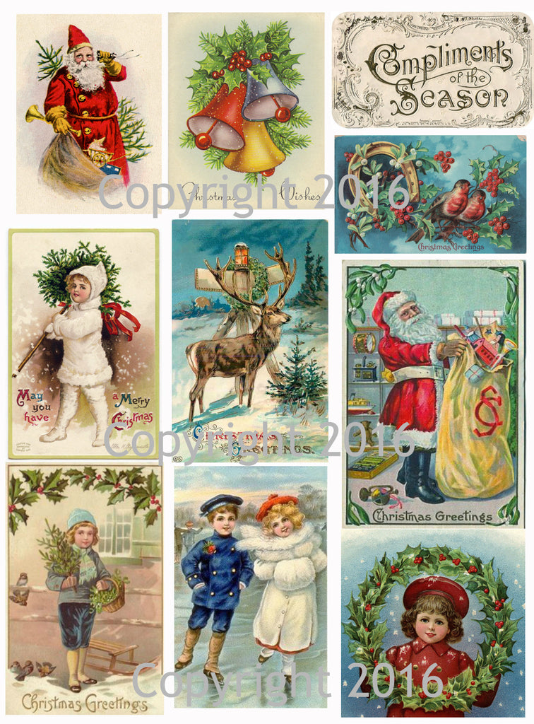 Vintage Christmas Card Collage Sheet  #102