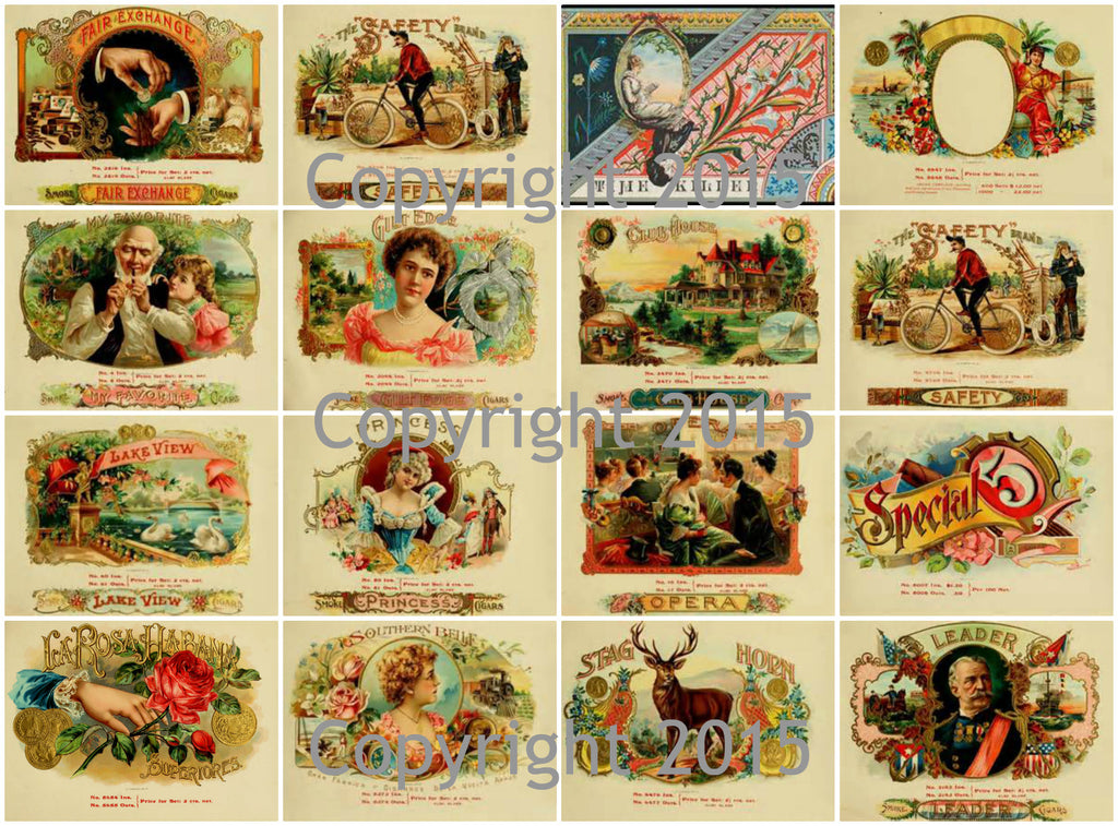 Vintage Cigar Labels Collage Sheet  #101