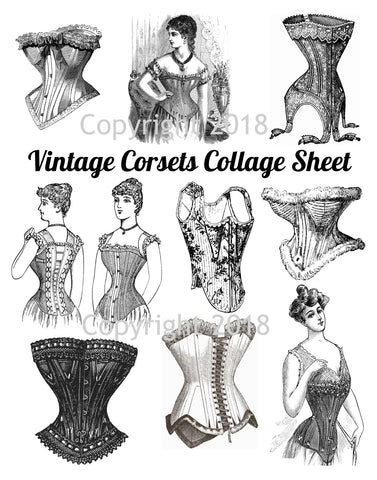 Victorian Corsets Collage Sheet ,  Instant Download, Scrapbooking, Card Making, Collage Sheet Corsets
